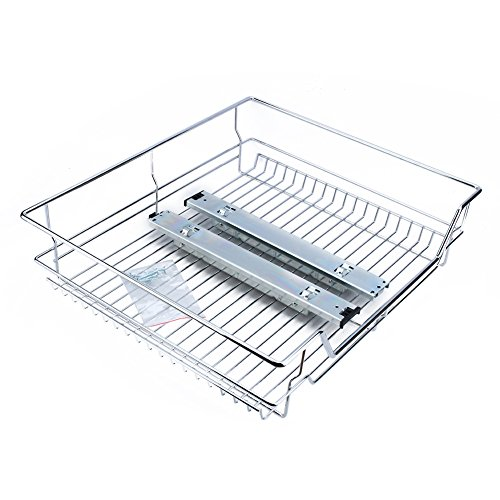 Kitchen Sliding Cabinet Organizer,Pull Out Chrome Wire Storage Basket Drawer for Kitchen Cabinets Cupboards,20.3