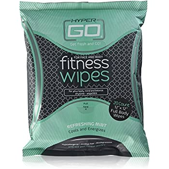HyperGo: Full Body Fitness Wipes - Body Cleansing Wipes - Clean Off Odor and Sweat- Refresh and Moisturize Skin - All Natural Ingredients - Mint Scent