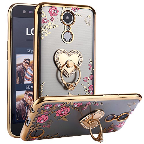 Harmony Ornament (CaseHaven LG K20 Plus Case, Glitter Crystal Heart Floral Series - Slim Luxury Bling Rhinestone Clear TPU Case With Ring Stand For LG K20 V / LG K10 2017 / LG Harmony / LG Grace - Gold)
