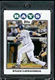 Evan Longoria RC - Rookie Card - Tampa Bay Rays - 2008 Topps Updates & Highlights Baseball Card in Protective Screw Down Display Case!