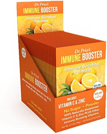 Immune Booster Natural Vitamin C Powder + Zinc, Chromium & Amino Acids BCAA | New! Orange Flavor (30 Packets) Drink Mix | Dr. Price's Vitamins | Non-GMO & Gluten Free, No Sugar