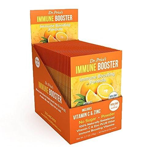 Immune Booster Vitamin C Packs + Zinc, Chromium & Branched Chain Amino Acids | NEW! Orange Flavor (30 powder packets) Drink Mix | Dr. Price's Vitamins | Non-GMO & Gluten Free, No (Organic Salicylic Acid Powder)