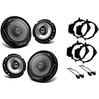 NEW KENWOOD KFC-1665S CAR TRUCK FRONT & REAR DOOR SPEAKERS W/ INSTALL KITS