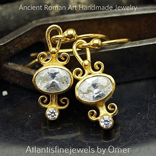 ROMAN ART WHITE TOPAZ DANGLE EARRINGS 24K GOLD VERMEIL STERLING SILVER TURKISH FINE JEWELRY