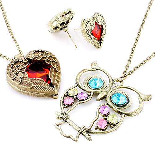 Vintage, Retro Colorful Crystal Owl Pendant and Long Chain Necklace with Antiqued Bronze/Brass Finish (3 Pcs: Owl + Heart + Earrings)