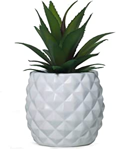 BLASCOOL Artificial Succulent Plant Decor, Fake Pineapple Home Office Outdoor Decoration (White)