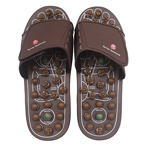BYRIVER Therapeutic Acupuncture Massage Flip Flops for Men Women Foot Relaxation Massager Plantar Fasciitis (M)