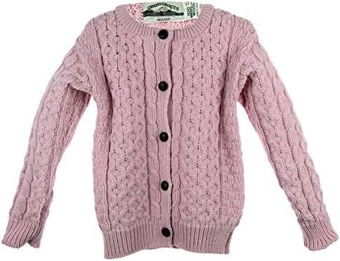 Irish Merino Wool Aran Little Girl's Button Sweater