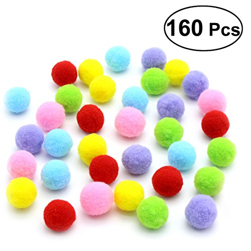 UEETEK 160PCS Cat Toys Assorted Color Soft Cat Toy Balls Kitten Toys Pompon Balls (Mix Color)