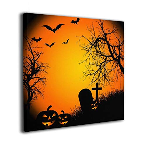 Fhjs Bathroom Decor Wall Art Paintings, Happy Halloween Canvas Wall Artwork for Living Room Home Office 12
