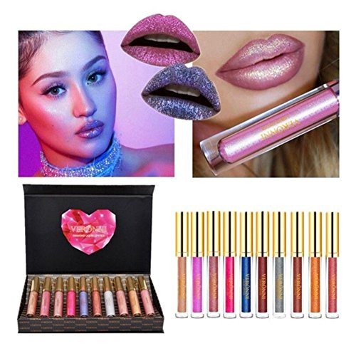 Diamond Lipstick - VERONNI Diamond Liquid Lipstick Set Metallic Lip Gloss Kit Waterproof Long Lasting Shimmer Lip Gloss Kit 10pcs Non Stick Cup Gift Set (10pcs together)