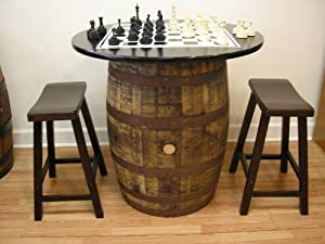 Vintage Whiskey Barrel Table Black Top W/Chess Board Chess Pieces 2 Bar  Stools