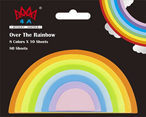 4A Rainbow Sticky Notes,Neon Assorted,Self-Stick Notes,10 Sheets/Pad,8 Pads,80 Sheets/Pack,4A ()