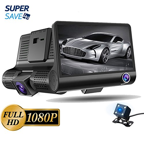 3 Lens Car Dash Cam Front/Inside/Rear 4″ Screen 1080FHD Uber/Taxi Prefer 170 Wide Angle/G-sensor/Motion Detection/Parking Monitoring Review