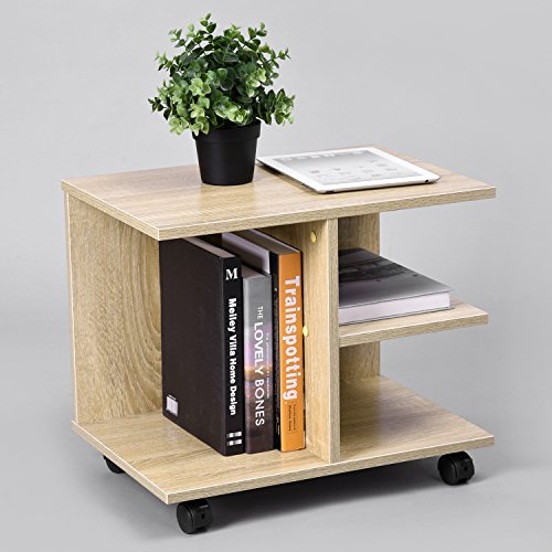 Green Forest Modern Bedside End Table Nightstand, Printer Stand with Storage Shelf and Lockable Wheel for Bedroom, Oak