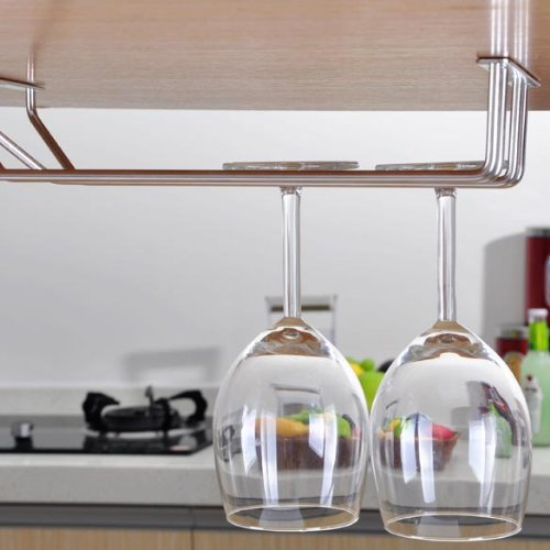 Vipeco 2-Rows Stainless Steel Wine Goblet Holder Bar Hanging Upside Rack Small