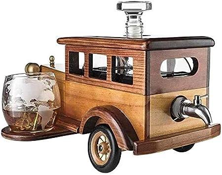 Whiskey Decanter set Gift 1000ml con 2 gafas de cristal de piedras de whisky y soporte de coche antiguo antiguo de la vendimia - conjunto de whisky para hombres, usados para Halloween Licorera