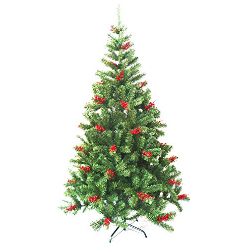 ALEKO CTB71H690 Luscious Artificial Indoor Christmas Holiday Tree with Cranberry Clusters 6 Foot