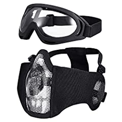 Airsoft Half Face Mask Steel Mesh and Goggles Set AdjustableTactical Mask for Tactical Cs War ,Game Outdoor Cosplay ,Hunting, Paintball, Shooting Features  1.Protective half face mesh mask with tactical goggles  2.100% Safty Materials : There...