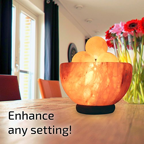 UMAID Natural Himalayan Rock Sea Salt Lamp Bowl With 6 Heated Salt Massage balls, Stylish Wood Base, Bulb With Dimmable Switch UL-Listed Cord by UmAid (Image #2)