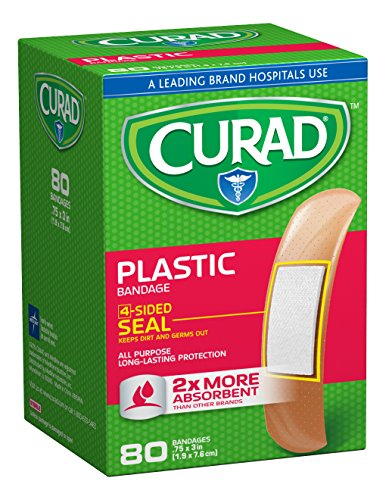 Curad Plastic, 3/4  x 2 7/8 Inches, 80 count  (Pack of 4) ()