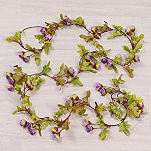 Adeeing Artificial Silk Rose Vines, Pretty Simulate Rose Rattan Wedding Party Home Wall Decoration, 220cm Hand-Made 6