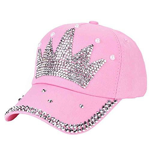 Funbase Children Outdoor Sports Star Shaped Bling Baseball Hiking Cap (Pink&Crown)