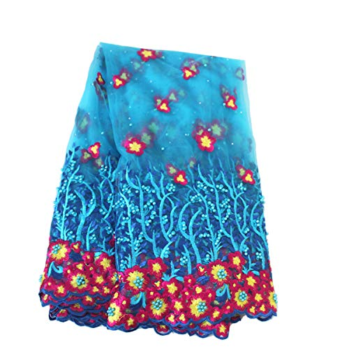 Aisunne 5 Yards African Lace Fabrics Classics Nigerian French Lace Fabric with Fashion Rhinestones and Embroidered Beading Flower for Wedding Party Dresses (Blue) ()
