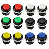 OCR AC 125V 6A AC 250V 3A Car Auto Momentary On/Off Switch Horn Switch For Car Push Round Button Switch (12pcs-Colors button)