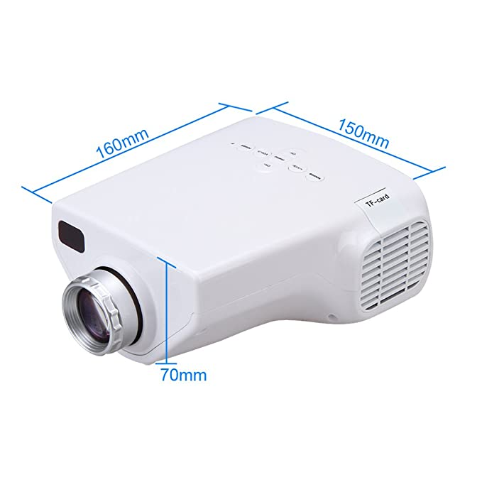 Excelvan E03 - Mini proyector LCD LED proyector Home Cinema (resolución 320*240, HD 1080P , 50 lúmenes, USB/VGA/HD/AV/ATV/tarjeta de TF), color blanco