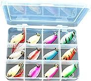 LBIW 12pcs/Set Metal Fishing Spoon Set Baits kit with Hook Box