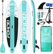 FOUR CLOVER Inflatable Stand Up Paddle Board Universal SUP 6 inches Thick, Wide Stance w/Bottom Fin for Paddli