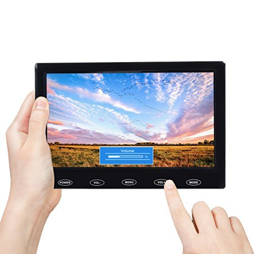 Toguard 7 Inch Ultra-Thin 1024x600 Monitor Small Portable TFT LCD CCTV Video Display Screen with AV VGA HDMI Input Touch Button Built-in Speakers for Raspberry Pi PC TV Security Surveillance (Multi Touch Lcd Screen)