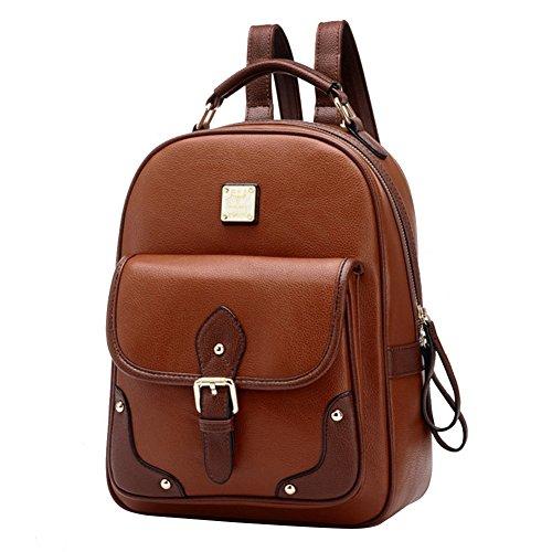 jilesm Fashion Leder Rucksack Schultertasche Schultasche (Kaffee)