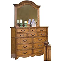 Hamlin Country 12 Drawer Dresser & Mirror Set in Natural Oak Wood