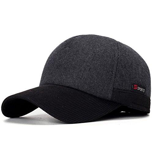 FDRGOTTEN New Arrivel Winter Baseball Caps with Ears Motorcycle Cap Casual Winter Hat Warm Caps with Corduroy Visor for Men Black