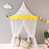 HB.YE 5 in 1 Kids Princess Canopy Bed Tents with Gauze Curtain and Hanging Moon Characters, Natural Cotton Dome Reading Tent for children - Diametre 120cm/47.2'(Yellow Crown)