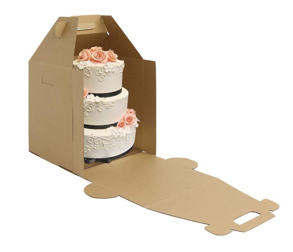 W Packaging Plain Tall Kraft/Kraft Cake-Carrier Box 14'' x 14'' x 16'' High - Pack of 3