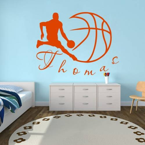 Wall Decals Sports Basketball Player Ball Game Team Monogram Boy Personalized Name Baby Any Room Gym Vinyl Decal Sticker Home Decor ML197