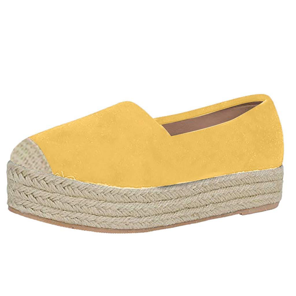 Women's Platform Sneaker Fashion Slip on Round Toe Dress Casual Walking Comfort Flat Boat Shoes (Yellow, Size(CN):37/US:6.5)
