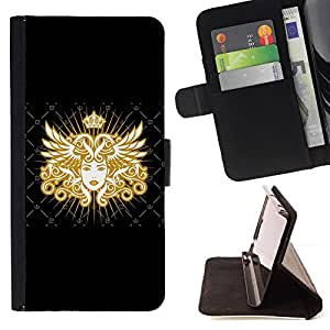 - ROYAL WOMAN GODDESS ART QUEEN GOLDEN - - Prima caja de la PU billetera de cuero con ranuras para tarjetas, efectivo desmontable correa para l Funny HouseFOR Samsung Galaxy S4 IV I9500