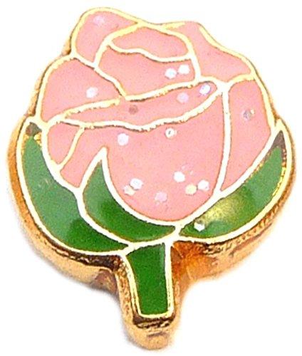 Pink Rose Floating Locket Charm