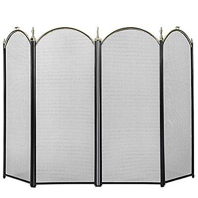 VIVOHOME Iron Fence 4 Panel Decorative Black Mesh Fireplace Screen