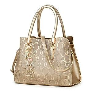 Leather Handbag for Women, Ladies Top-handle Tote Crossbody Shoulder Bag
