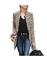 Teetyesy Women's Open Front Jacket Long Sleeve Leopard Print Blazer Cadigan Coat OL Office Suit