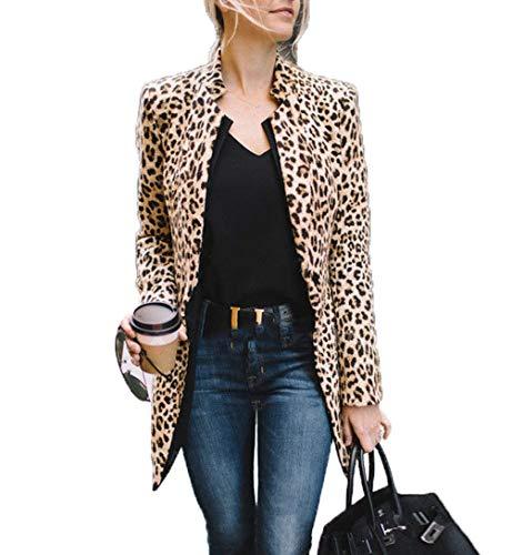 Women's Open Front Jacket Long Sleeve Leopard Print Blazer Cadigan Coat OL Office Suit (L, Leopard) ()