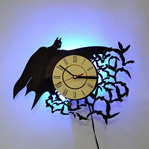 (BATMAN SUPERHERO Blue Led LED Backlight Vinyl Wall Clock Night Atmosphere Light Lamp Creative Classic Cool Living Room Interior Decor Led Time Clock With Light)