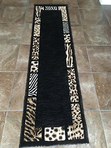 Zebra Border Rug (Animal Skin Leopard Tiger Zebra Border Print Runner Area Rug Black Design 73 Skinz (2 Feet X 7 Feet ))