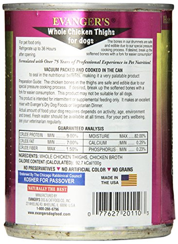 Evanger S 776160 Hand-Packed Grain Free Whole Chicken Thighs For Dogs, 12 Ounce, Pack Of 12