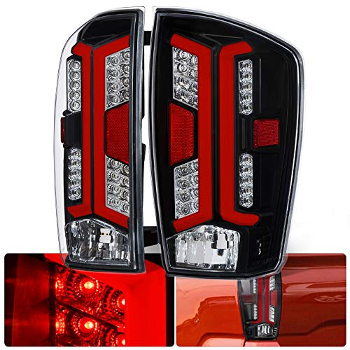 (Black Housing Clear Lens LED Red Bar Tail Lights For 2016 2017 2018 2019 16 17 18 19 Toyota Tacoma)